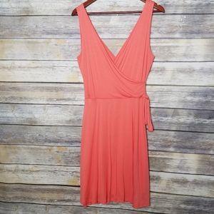Gilli USA Wrap Front Fit Flare Coral Midi Dress